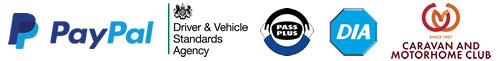 PayPal, DVSA (Driver & Vehicle Standards Agency), Pass Plus, DIA, Caravan and Motorhome Club